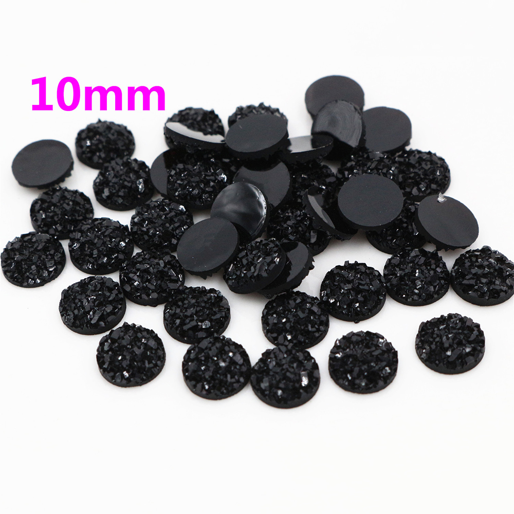 New Fashion 10mm 40pcs Pure Black Colors Natural Ore Style Flat Back Resin Cabochons For Bracelet Earrings Accessories-O2-11