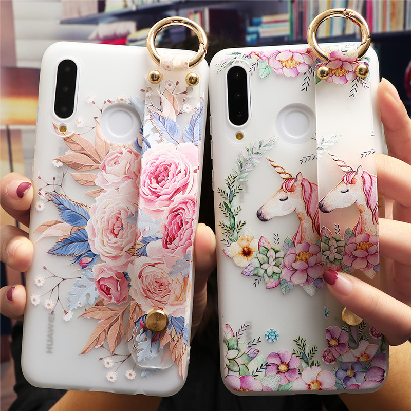 Flower Wrist Strap Case For <font><b>Huawei</b></font> Y7 79 Y5 Prime <font><b>Y6</b></font> <font><b>2019</b></font> 2018 For Honor View 10 20 30 Lite 9X 7A 8A Pro 10i 20i 8X Silicon Etui image