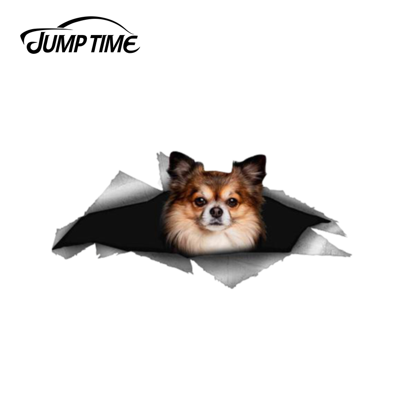 Jump Time 13cm X 5.9cm Chihuahua Dog Pet Sticker Torn Metal Bumper Decal Funny Car Stickers Window Trunk Animal 3D Car Styling