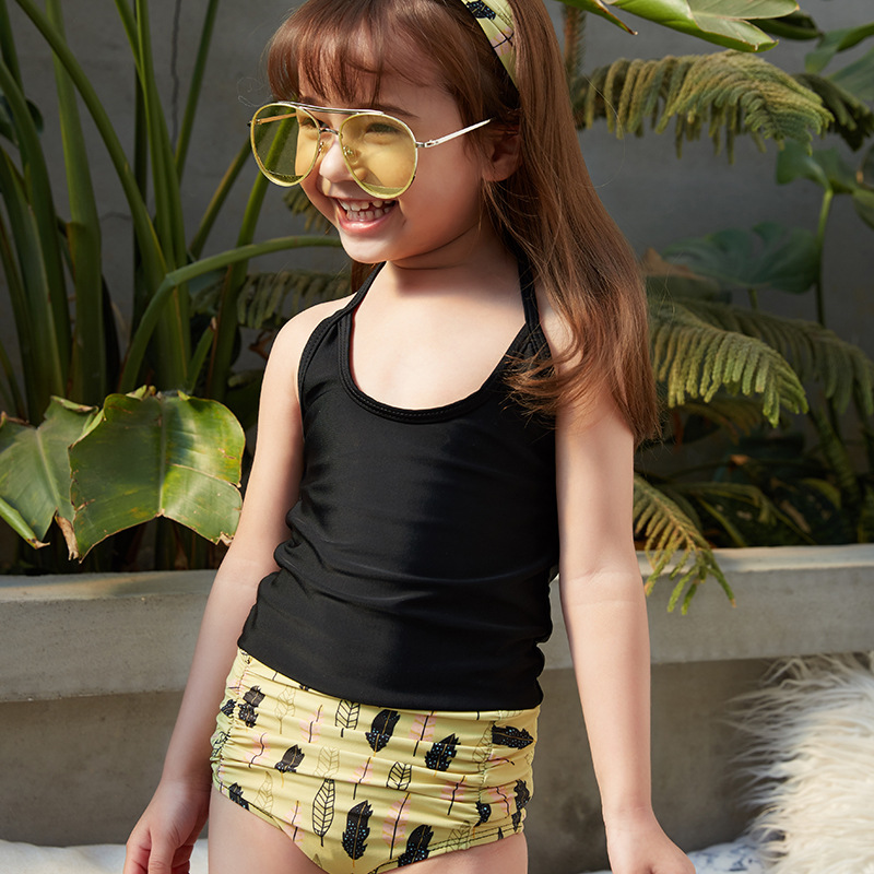 2019 New Style Hot Sales Two-piece Swimsuits Halter Solid Color Boxer Small Qing Xin Wen Quan Ultra-stretch Girls KID'S Swimwear
