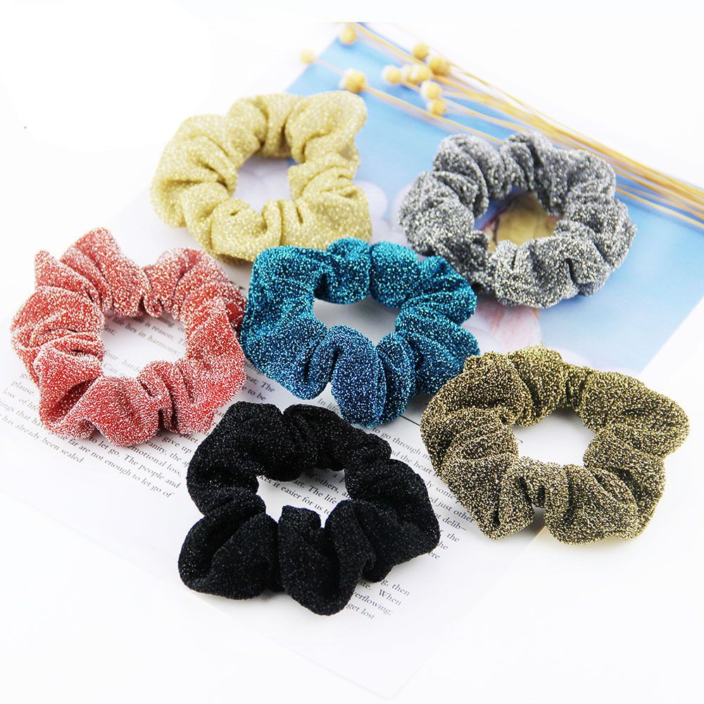 1pcs New Ponytail Holder Solid Hairband Hair Accesories Korean Glitter Ladies Scrunchie Hair Rope Fashion Women Hair Ties