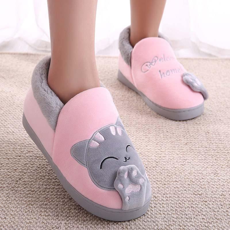 Women Winter Warm Home Slipper Couple Shoes Female Plush Cat Animal Slip On Soft Indoor Flats Comfort Ladies & Man Plus Size(China)
