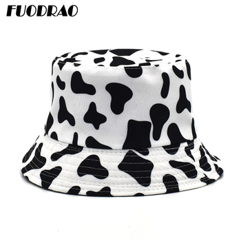 FUODRAO Original New Reversible Bucket Hats Panama Women Fashion Black White Cow Pattern Fisherman Hat Summer Sun Hats M56 chic rose and leaf pattern flat top black bucket hat for women
