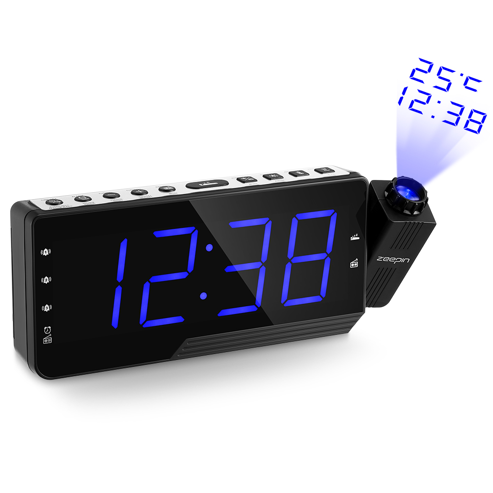 Digital Projector Radio Alarm Clock Snooze Timer Temperature LED Display USB Charging Cable 110 Degree Table Wall FM Radio Clock