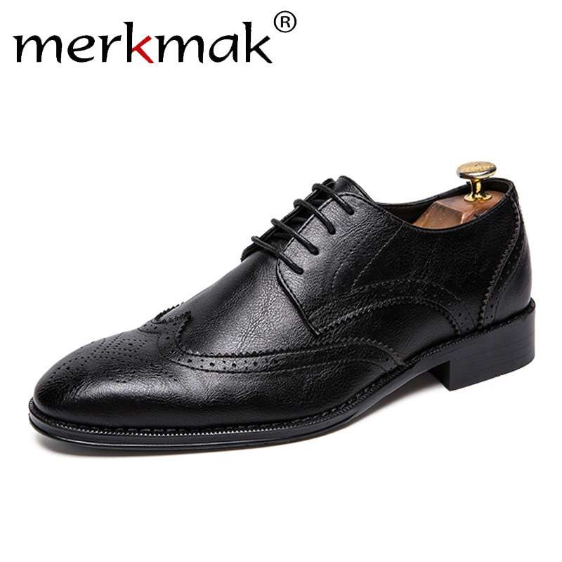 Merkmak 2020 Spring Men's Leather Shoes Lace-up British Style Bullock Casual Oxfords Shoes Men 47 Business Office Shoes For Man