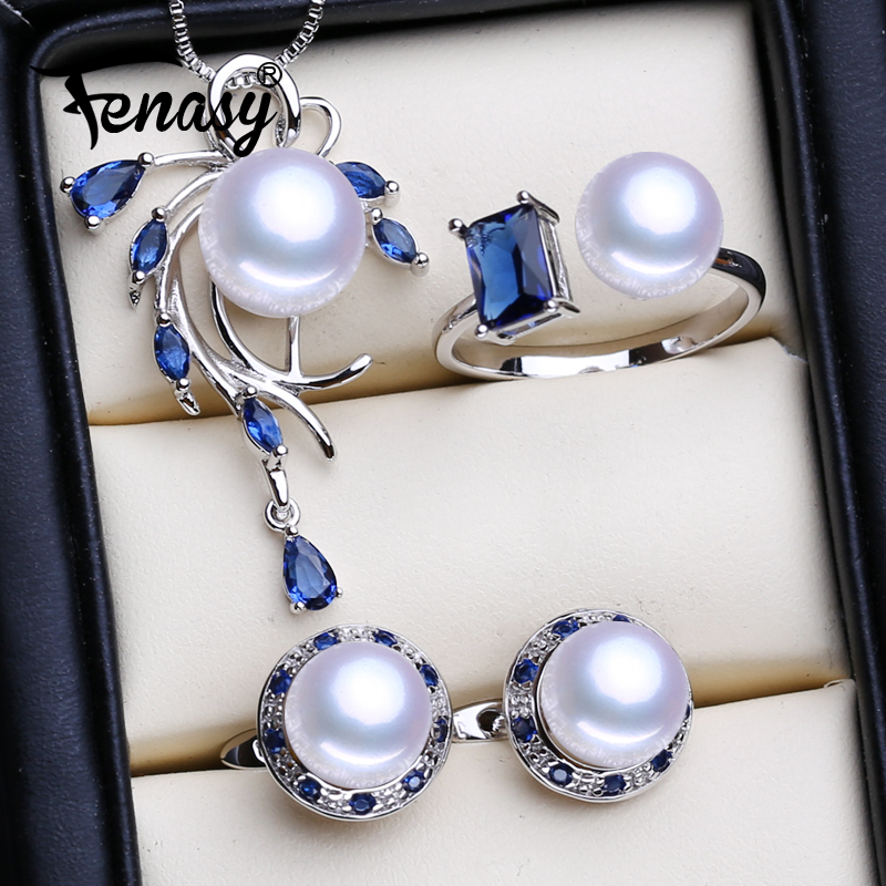 FENASY 925 Sterling Silver Necklace Natural Pearl Jewelry Sets For Women Bohemian Stud Earrings Sapphire Pendant Party Rings