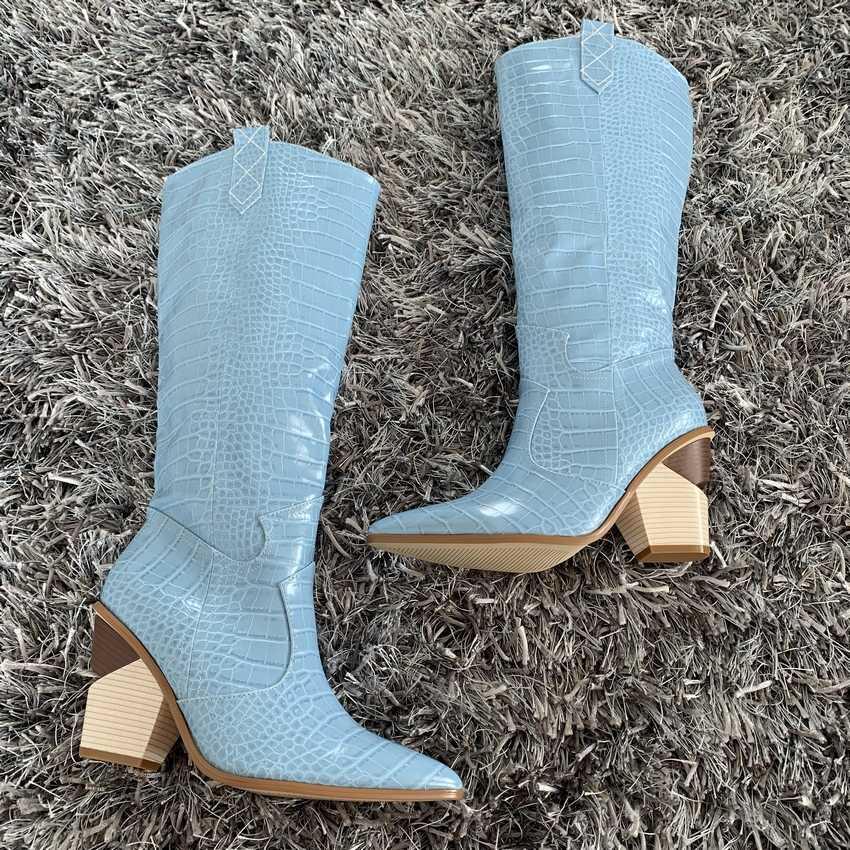 9.5CM Giày Cao Gót Đùi cao cấp Giày Boots Nữ Lông Thú Giả Tuyết Giày Người Phụ Nữ Da Đen Đầu Gối Giày Cao Cổ Dài mùa đông Giày Chelsea Boot
