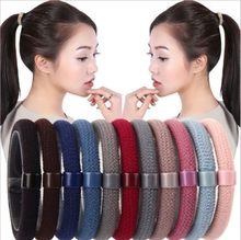 Elastic Hair Band For Women Solid Casual Rubber Band For Girls Ponytail Holder Hair Rope Thick Hair Ring Highly Stretchable(China)
