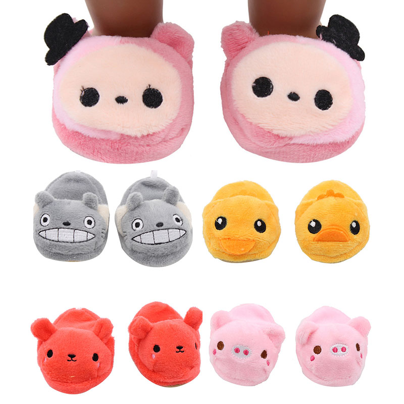 High Quality Doll Shoes Cute Withe Felt Slippers For 18 Inch Zapf Baby Dolls Slippers Fashion Mini 43cm Born Doll Accessories
