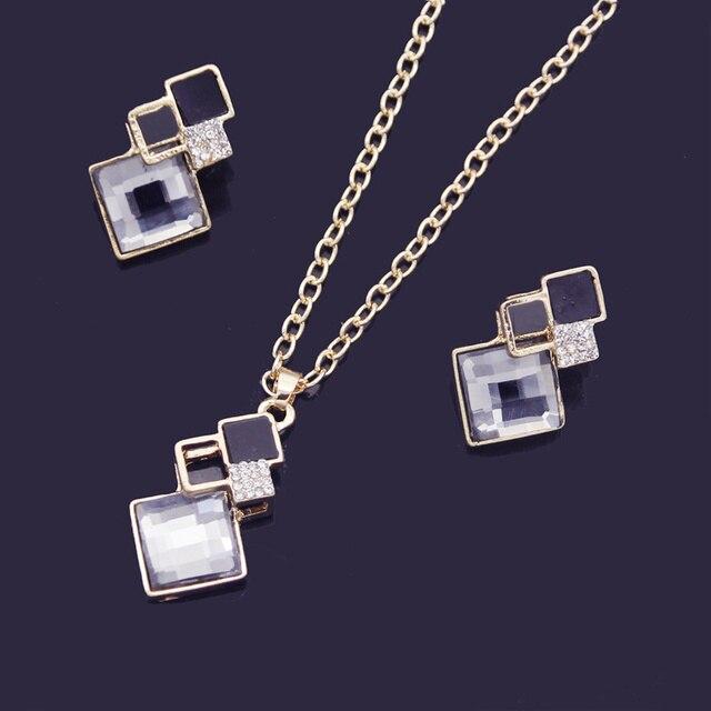 Crystal Geometric Pendants Necklace Earrings Sets for Women Fashion Jewelry Set Bridal Wedding Earring Necklace Set 3
