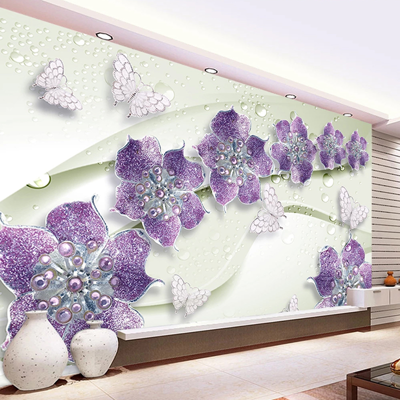 Custom Mural Wallpaper 3D Stereo Jewelry Diamond Purple Flower Wall Painting Living Room TV Backdrop Wall Decor Papel De Parede
