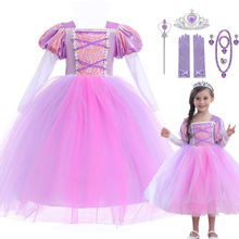 4-12T Girls Princess Rapunzel Costume Tulle Ankle Length Long Sleeve Party Cosplay Disguise Kids Anime Tangled Rapunzel Dress abgmedr 2018 tangled dress girls princess dresses children clothing costume tangled rapunzel dress kids holiday party clothes