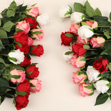 5pcs Silk Rose Flowers Artificial Faux Flower Arrangement Home Garden Decor White Pink Red Fake Roses Lover Gift