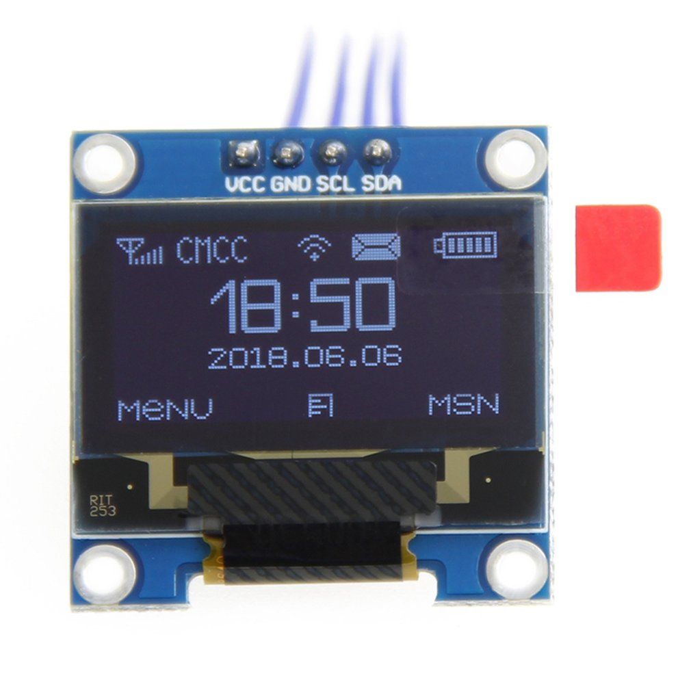 1pc White/blue Color 0.96 Inch Oled Display Module 128*64 Oled Lcd Display I2C 0.96 Iic Serial 128x64 Replacement