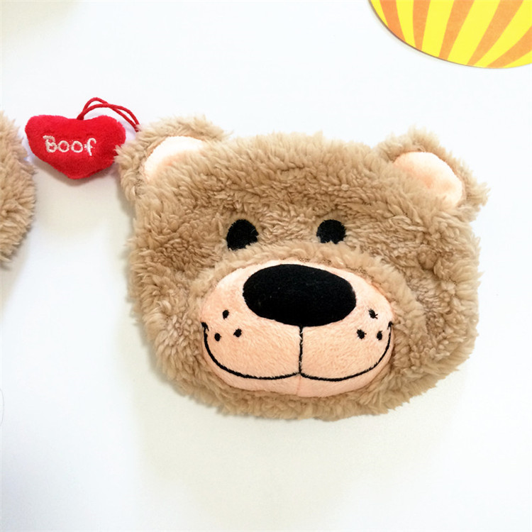 INS Online Celebrity Heart Little Bear Purse Bus Wallet Big Head Bear Plush Coin Purse Cosmetic Bag Girl'S Gift