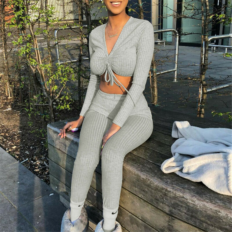 Goocheer Women Knit Crop Top Lounge Wear Suit Ladies Workout 2pcs Tracksuit Set Casual Fitness Women Set