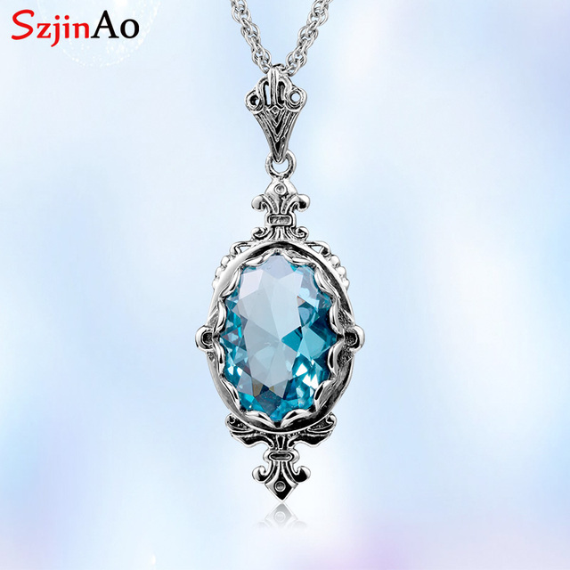 Szjinao Real 925 Sterling Silver Pendant For Women Aquamarine Necklace Pendants Oval Gemstone Vintage Viking Fine Jewelry Gift