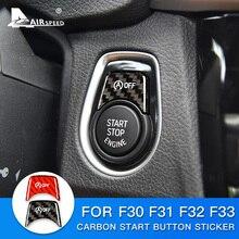 AIRSPEED pegatina de fibra de carbono para coche, accesorio para BMW F30, F31, F32 y F33, ajuste Interior, botón de arranque del motor, interruptor del dispositivo de encendido
