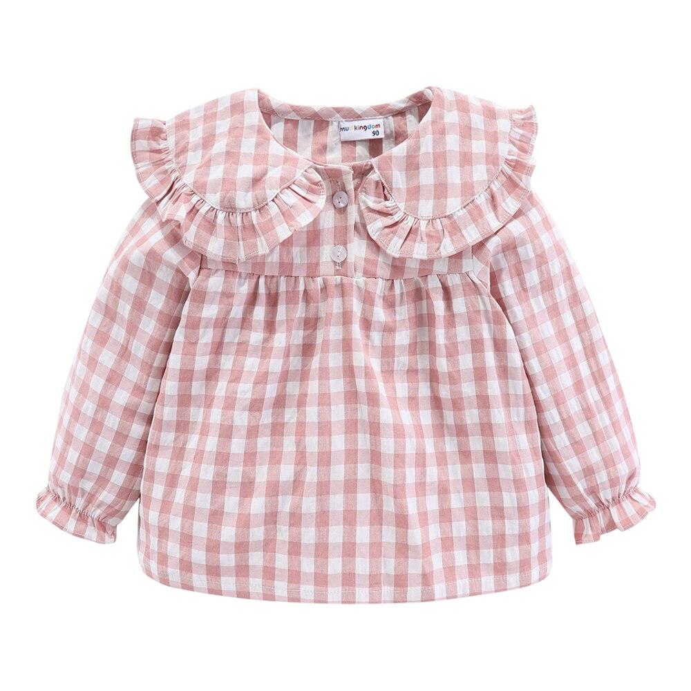 Mudkingdom Girls Pajama Set Peter Pan Collar Cute Plaid Kids Homewear Casual Toddler Pajamas Kids Sleepwear 4
