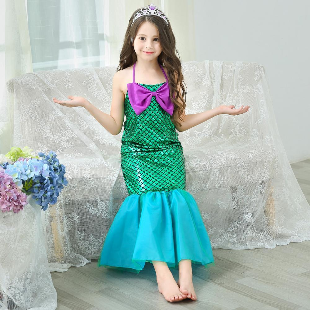 mermaid tail princess ariel dress cosplay costume kids for girl fancy green dress Swimsuit Bikini Bathing Suit Dress for Girls