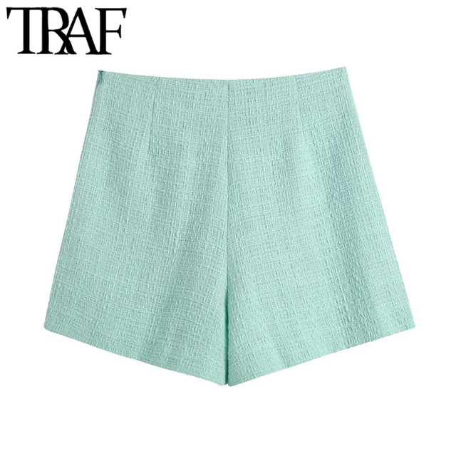 TRAF Women Chic Fashion With Buttons Tweed Shorts Skirts Vintage High Waist Side Zipper Female Skorts Mujer 2