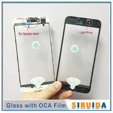 12pcs Cold Press 3 in 1 Front Screen Glass With Frame OCA Glue+Ear Speaker Mesh For iphone 8 7 8plus 6 6s plus 5 5s XR Repairing(China)