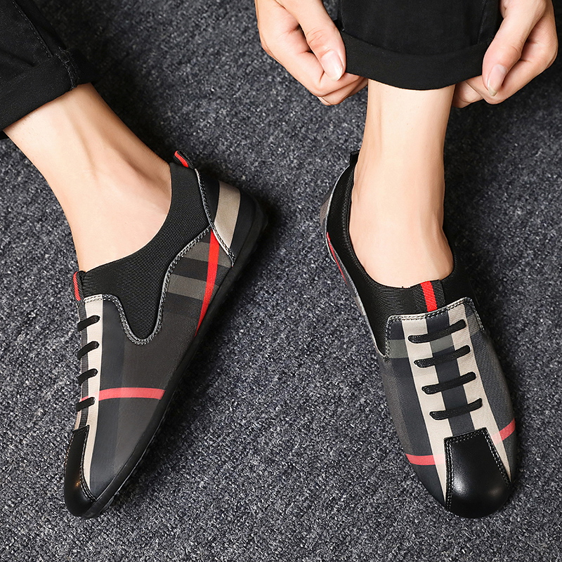 Men Casual Shoes Fashion Men Shoes Leather Canvas Men Loafers Moccasins Slip On Men's Flats Male Driving Shoes Soft Non-slip