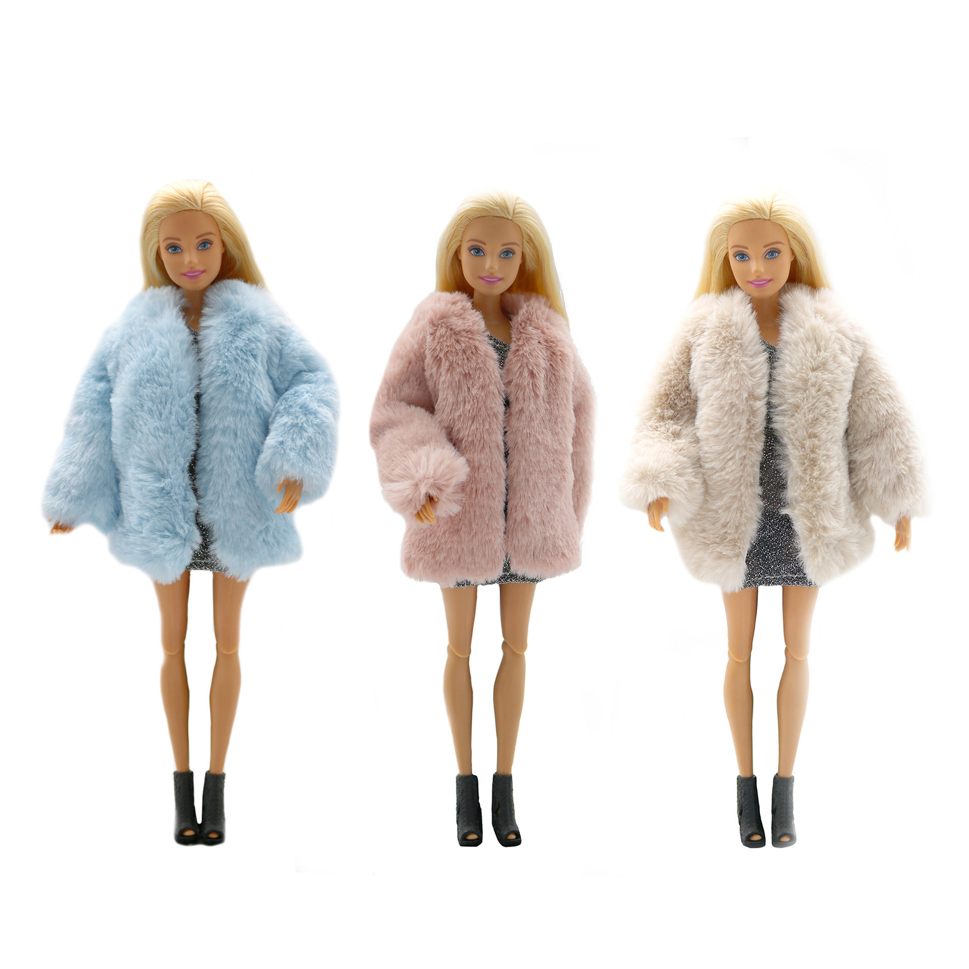 Handmade Fashion Winter faux-fur Outfit /& Short Blue Skirt For 11.5 inches Doll