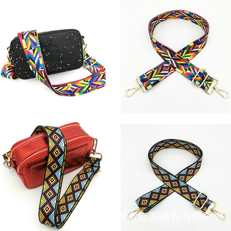 Luxury Handle Bag Strap For Women Removable Shoulder Rainbow Handbag Accessories Cross Body Messenger Nylon Bag Straps Obag