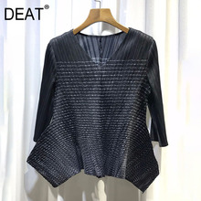 Pleated T-Shirt Long-Sleeve Pullover V-Collar Wild-Design Casual Summer Fashion Woman