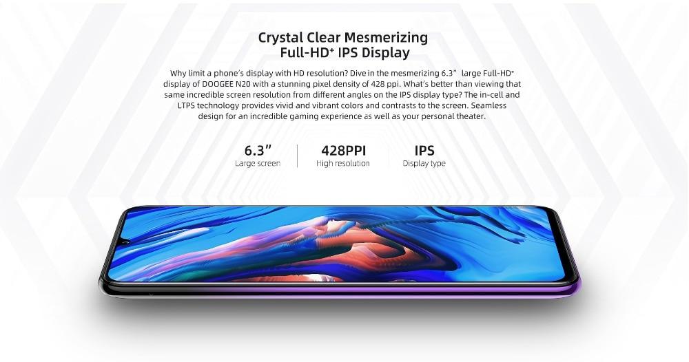 Hf479ddf53b6344668e2588672f006de6b DOOGEE N20 New 2019 Smartphone 6.3inch FHD+ Display 4350mAh 4GB+64GB Octa Core 10w charge Fingerprint 16MP Triple Back Camera