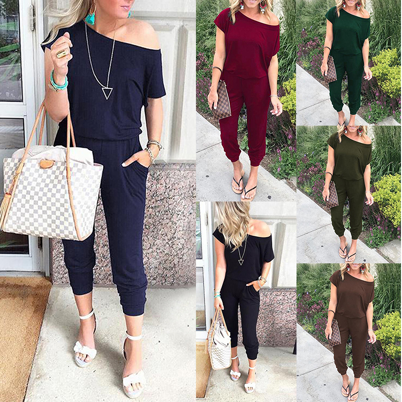 Spring Summer Jumpsuits Women Slash Neck Bodysuits Solid Pockets Jump Suit New Beam Feet Streetwear 2020 Ladies Bandage Rompers