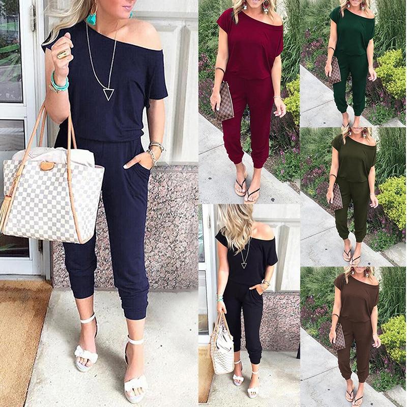 Spring Summer Jumpsuits Women Slash Neck Bodysuits Solid Pockets Jump Suit New Beam Feet Streetwear 2020 Ladies Bandage Rompers