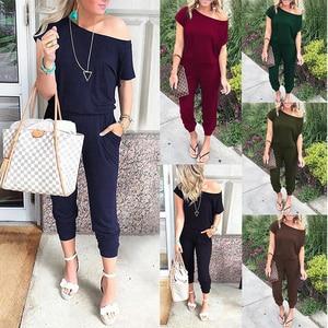 Image 1 - Spring summer jumpsuits women slash neck Bodysuits solid pockets jump suit new Beam feet streetwear 2020 ladies Bandage rompers
