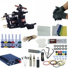 цены на Tattoo Kit Professional 1 Tattoo Gun Machine Set 6Colors Ink Set Power Supply Grips Body Art Tools Permanent Makeup Tattoo Set  в интернет-магазинах