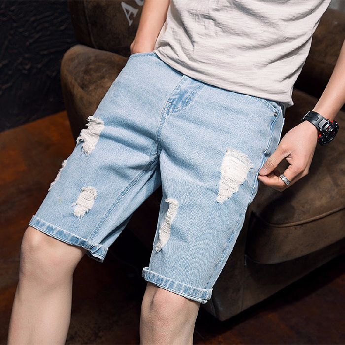 Summer Thin Section With Holes Denim Shorts Men's Short Japanese-style Shorts Horse Pants Men's Korean-style Trend Casual Athlet