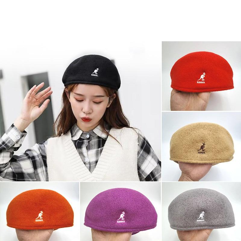2021 New Kangaroo Wool Beret Women's Autumn Winter Korean Fashion Brand Student Beret for Men Women Fashion Warm Headwear