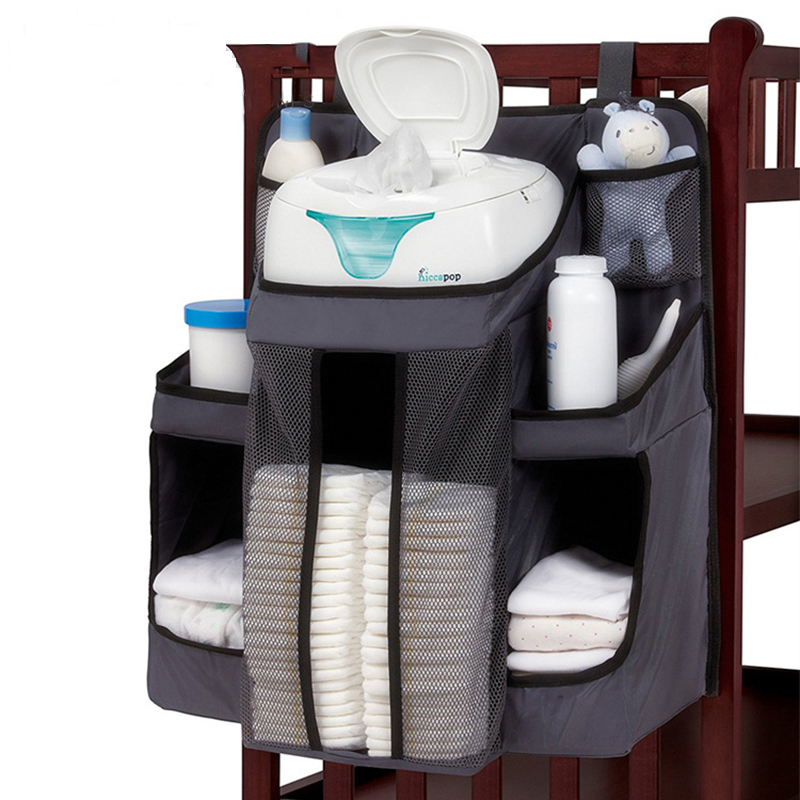 Baby Crib Bumper Hanging Storage Bag Diaper Organizer Newborn Wipes Toy Clothes Sturdy Nursery Pocket Bed Bumper Cradle Bedding