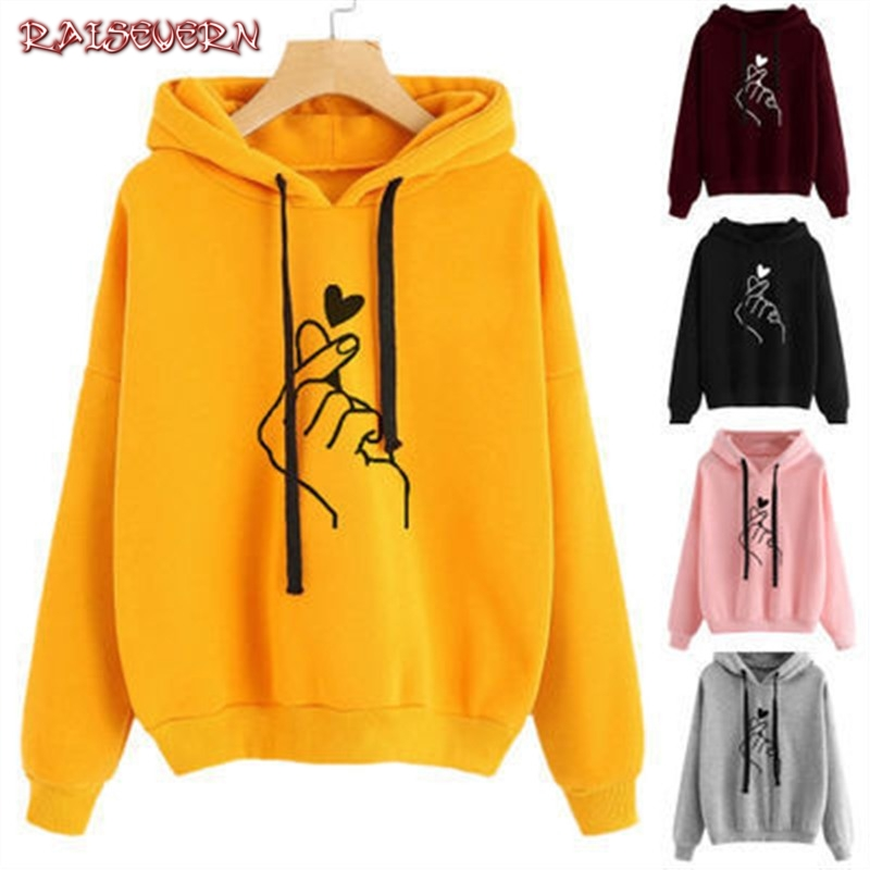 Women Hoodies Casual <font><b>K</b></font> <font><b>Pop</b></font> Love Heart Finger Print Solid Loose Drawstring Sweatshirt Long Sleeve Hooded Autumn Female Pullover image