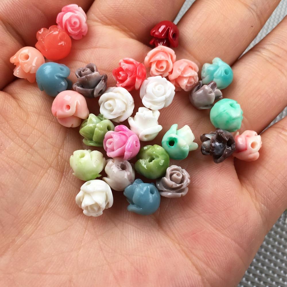 Corail synthétique Double couleur fleur forme poinçon perles en vrac isolation perle pour la fabrication de bijoux collier à faire soi-même bracelet accessoire