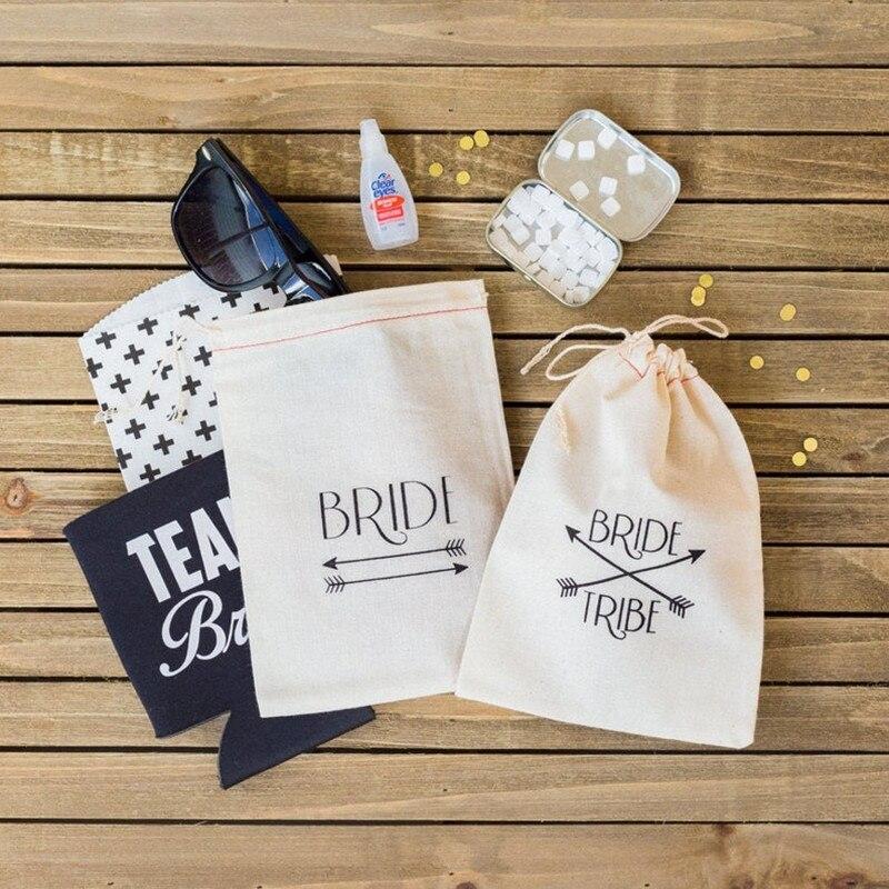 Personalised Bride Tribe Arrow Hangovers Bag Bridal Party Survival Kit Bags Wedding Muslin Gift Bag Glitter Bachelor Favor Bags