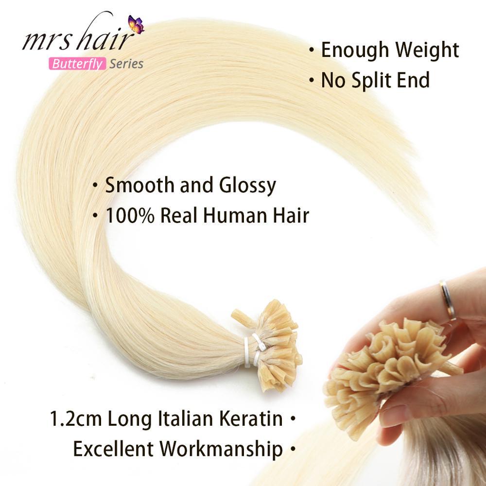 "MRSHAIR Nail U Tip Hair Extensions 16"" 20"" 24"" 1g/pc Straight Pre Bonded Hair On Keratin Capsules Hot Fusion Extensions 50pcs"