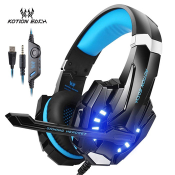 KOTION EACH G9000 3.5mm USB Gaming Headset Stereo Bass Luminous With Mic LED Light Gaming Headphone Gamer Headphone For computer kotion each g1200 gaming headset 3 5mm game headphone headband gaming headphone with mic stereo bass for pc laptop mobile phones