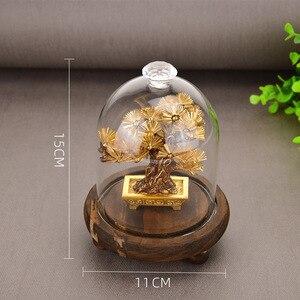 Image 5 - פנג שואי דקור מזל עושר קישוט 24k זהב לסכל אורן עץ זהב מלאכות משרד שולחן העבודה מזל קישוטי עיצוב הבית מתנות