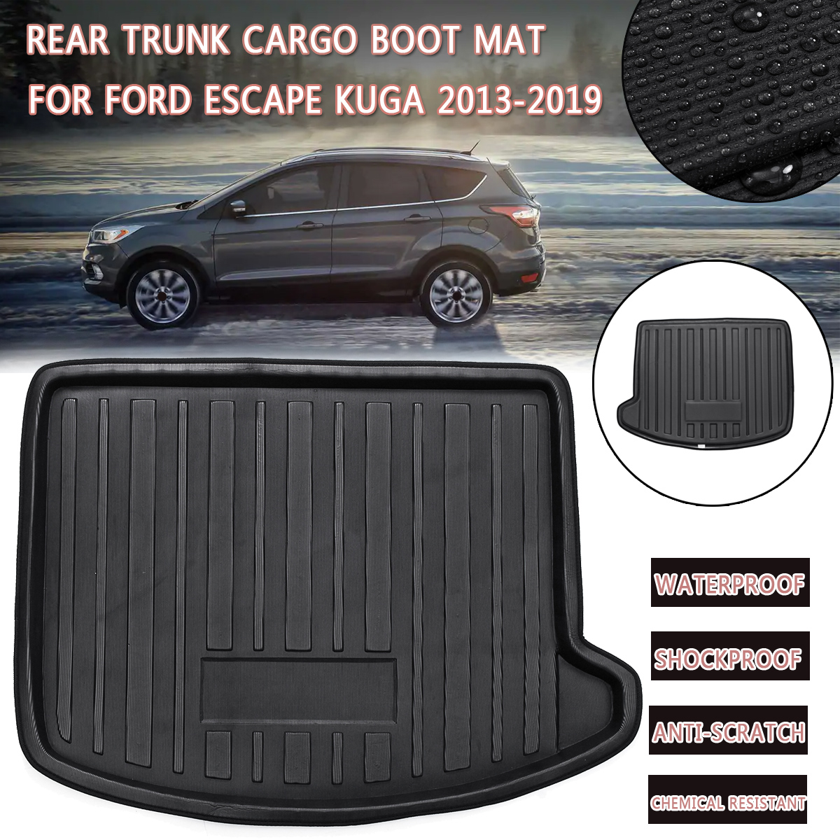 Fit For Ford Escape Kuga 2013 Boot Mat Rear Trunk Liner Cargo Floor Tray Carpet