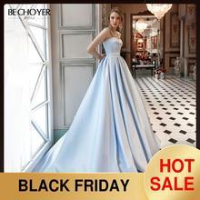 BECHOYER מתוקה חרוזים סאטן חתונת שמלת כחול ללא שרוולים אונליין כיסים משפט רכבת המפלגה הכלה שמלת Vestido דה Noiva AC01