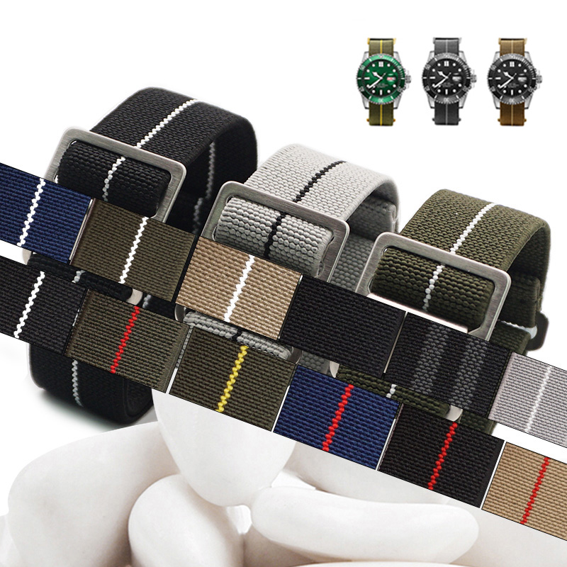 2019 New Arrival French Troops Parachute Bag For Nato Nylon Elastic Belt Watchband 20mm 22mm Watch Strap in Watchbands from Watches