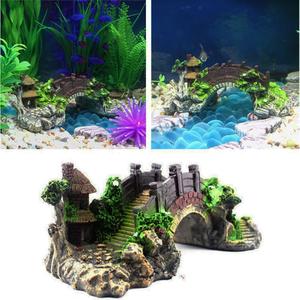 Image 4 - Aquário tanque de peixes do vintage ponte decorativa paisagem ornamentos pavilhão árvore plantas resina design suprimentos para animais de estimação decorações para casa