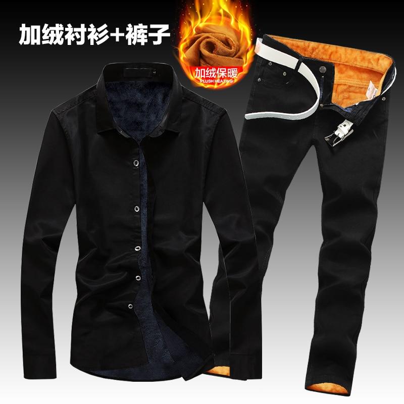 Autumn Winter Mens Plush Liner Shirt Long Pencil Pants Warm Trousers Thick 2pcs Set Single Breasted Male Shirts Jeans K37