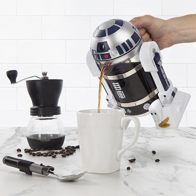 Star Wars R2D2 мини ручная кофемашина, Теплоизоляционный горшок, кофейник, мокко, кофейник, кухонный инструмент